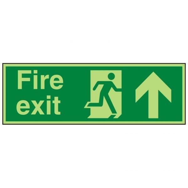 Fire Exit Running Man Arrow Up Photoluminescent Sign