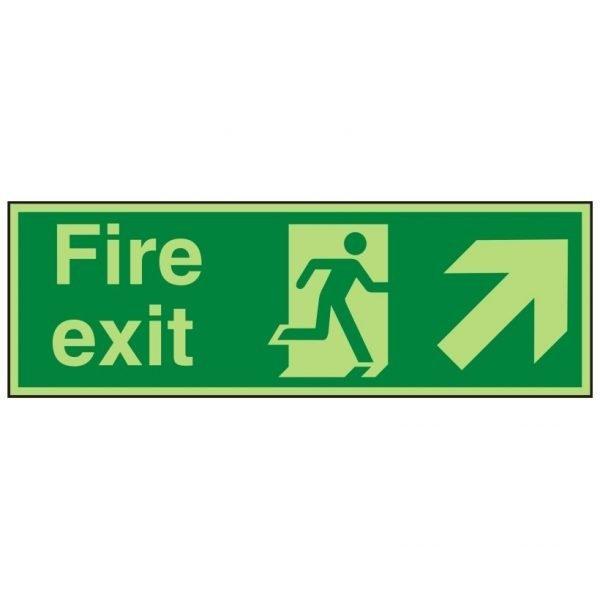 Fire Exit Running Man Arrow Up Right Photoluminescent Sign