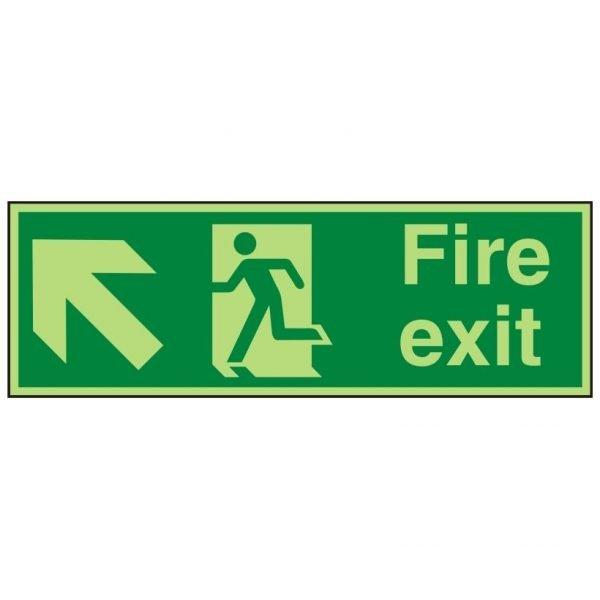 Fire Exit Running Man Arrow Up Left Photoluminescent Sign