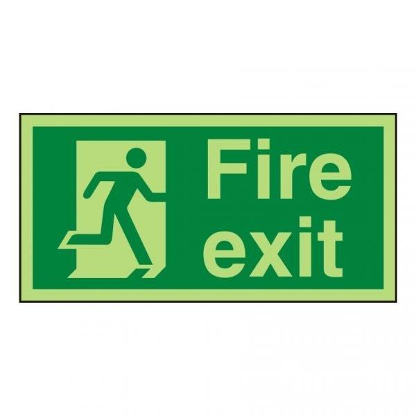 Fire Exit Running Man Right Photoluminescent Sign