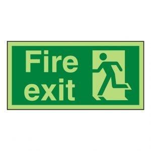 Fire Exit Running Man Left Photoluminescent Sign