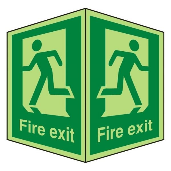 Fire Exit Running Man Double Sided Photoluminescent Sign