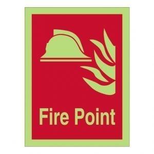 Fire Point Photoluminescent Sign