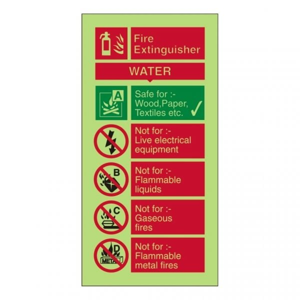 Fire Extinguisher Water Photoluminescent Sign