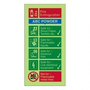 Fire Extinguisher ABC Powder Photoluminescent Sign