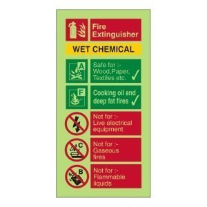 Fire Extinguisher Wet Chemical Photoluminescent Sign