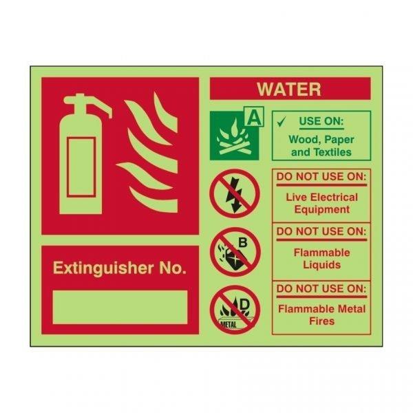 Extinguisher No Water Photoluminescent Sign