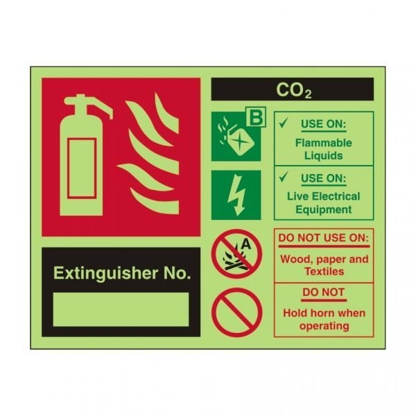 Extinguisher No Foam Spray Photoluminescent Sign