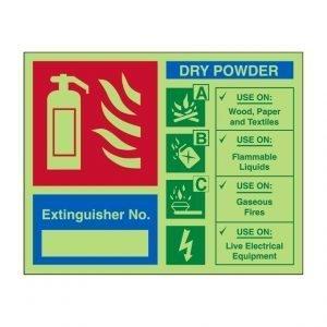 Extinguisher No Dry Powder Photoluminescent Sign
