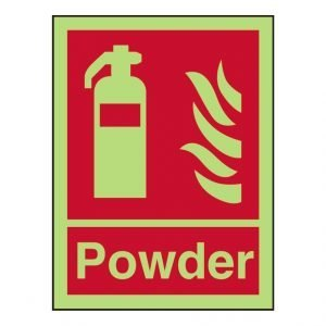 Fire Extinguisher Powder Photoluminescent Sign
