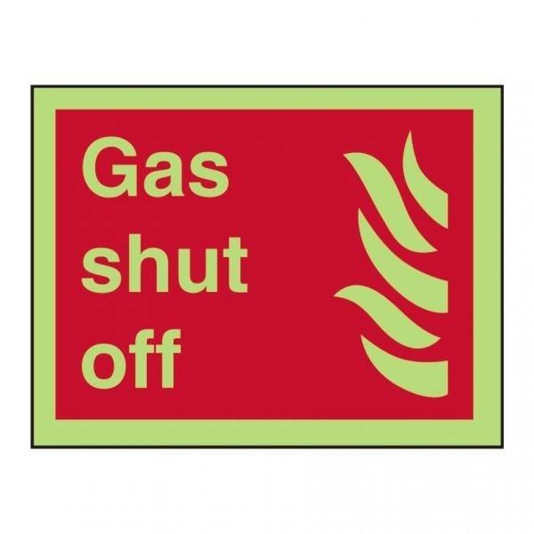 Gas Shut Off Photoluminescent Sign