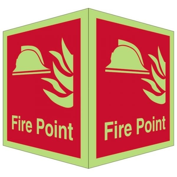 Fire Point Double Sided Photoluminescent Sign