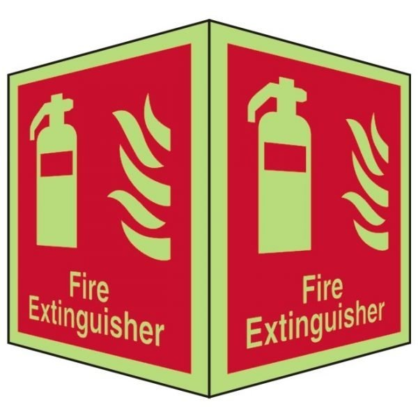 Fire Extinguisher Double Sided Photoluminescent Sign