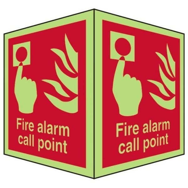 Fire Alarm Call Point Double Sided Photoluminescent Sign