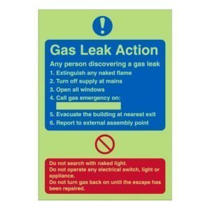 Gas Leak Action Photoluminescent Sign