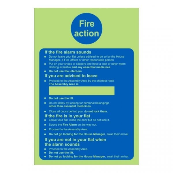 Fire Action Care Home Sign