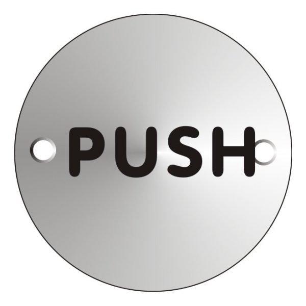 Push Satin Anodised Sign