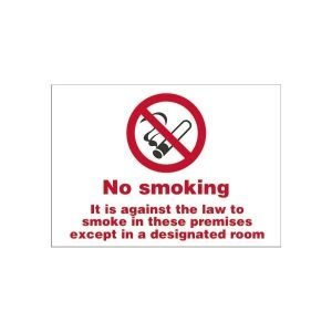 Smoking Only In Designated Rooms Sign