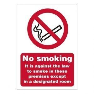 No Smoking Except For Designated Room Sign