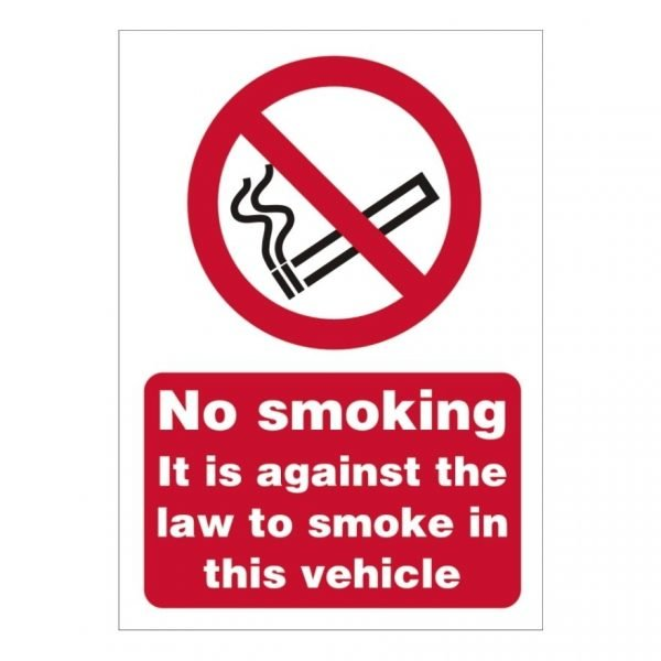 No Smoking Vehicle Sign