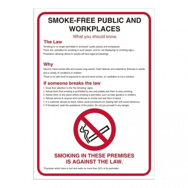 Smoke Free Public And Workplaces Poster