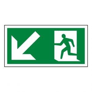 Running Man Arrow Down Left Sign