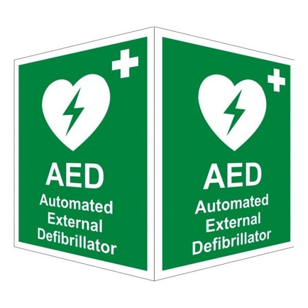 AED Automated External Defibrillator Double Sided Sign
