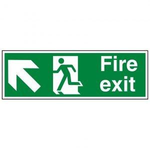 Fire Exit Running Man Arrow Up Left Sign