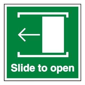 Slide Door Left To Open Sign