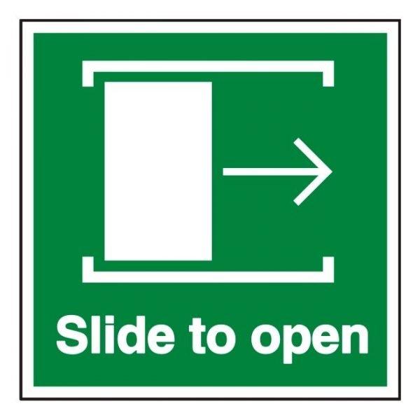 Slide Door Right To Open Sign
