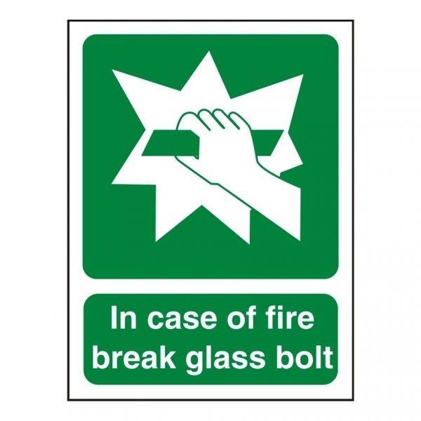 In Case Of Fire Break Glass Bolt Sign