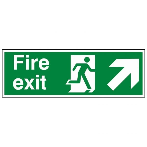 Fire Exit Running Man Arrow Up Right Sign
