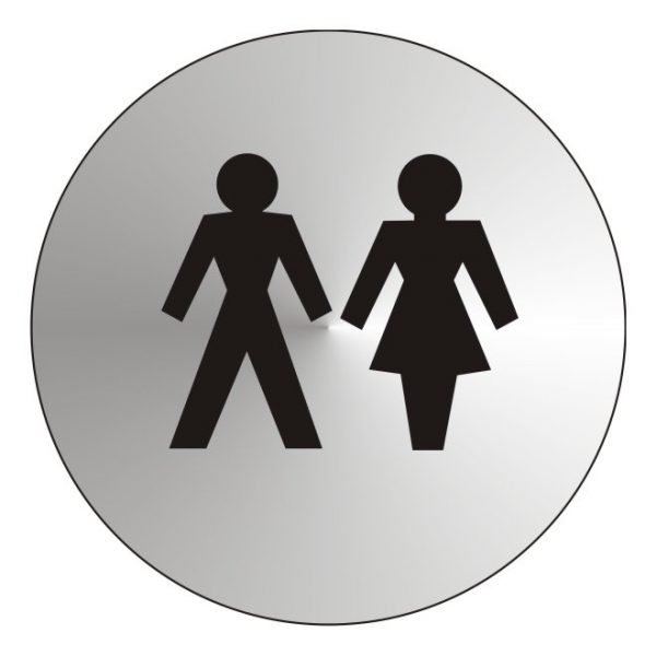Unisex Toilets Stainless Steel Sign