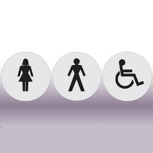 Set of 3 Circular Toilets Signs