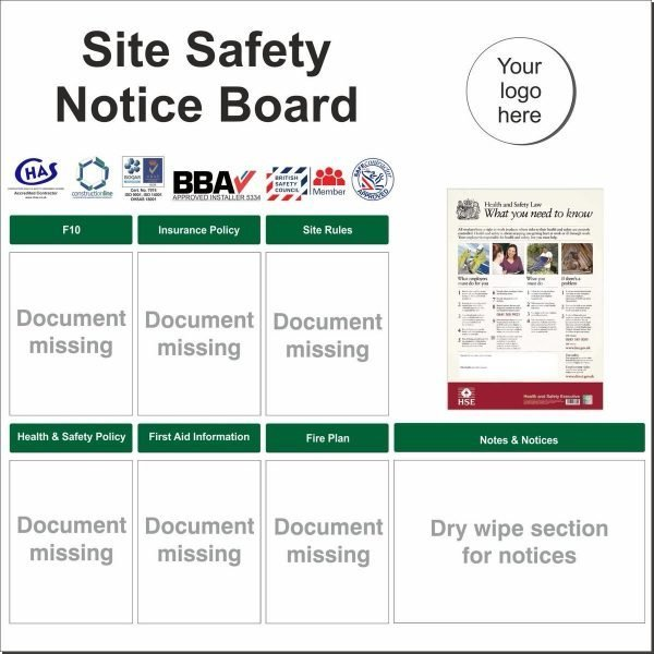 Site Safety Notice board with wallets for safety documents and dry wipe section for notices. Customisable with your company logo