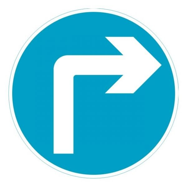 Turn Right Ahead Sign