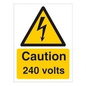 Caution 240 Volts Sign