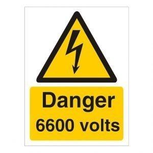 Danger 6600 Volts Sign